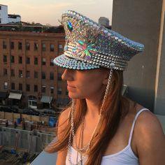 Custom Jeweled Burning Man Hat disco ball by IneffableGlitter