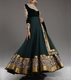 Anarkali Dress by Indian Designers, flared umbrella long dress with Dragon Teal Velvet bodice and Dragon fly green Chiffon umbrella features stunning embellishments around the neckline, front and sleeves. Wide border all around Bridal Anarkali Suits, Anarkali Dress, Black Anarkali, Green Lehenga, Mode Bollywood, Bollywood Fashion, Frock Design, Designer Anarkali, Indian Attire
