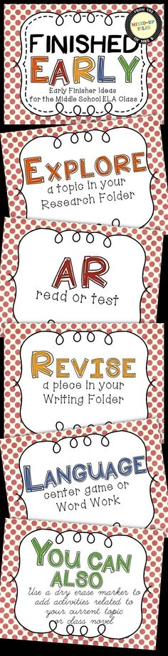 Early Finisher Ideas for the Middle School ELA Classroom -- FREE poster set ___revised for math