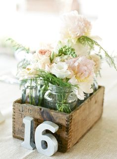 Rustic Blush Centerpieces | Sweet Tea Photography | TheKnot.com