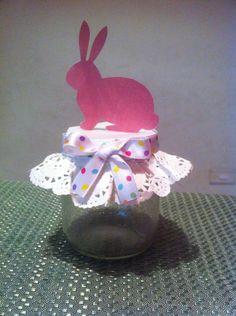 Frasco  para dulces cumpleaños tema: pascua