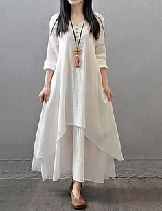 Comfort loose Taiwanese style long dress - find it in ivory, mustard, orange colors at $15.19. Only TODAY - 11.11 sale - up to 85% OFF on all categories.