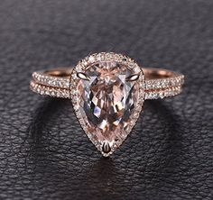 Pear Morganite Engagement Ring Bridal Set Pave Diamond Wedding 14K Rose Gold 8x12mm