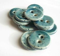 Gentle Blue Speckled Ceramic Buttons by buttonalia on Etsy, $24.00