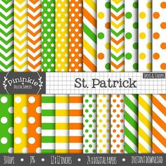 St Patricks Day Digital Papers Chevrons Polka Dots by Pininkie  #saturday_green_ddteam