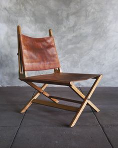 Ole Wanscher; Oak, Leather and Brass Safari Chair for A.J. Iversen, 1958.