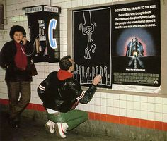 keith haring drawing in the subway, n.d.