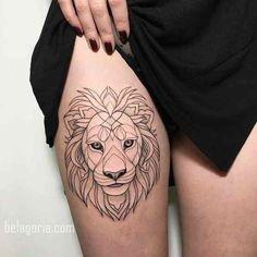 Ideas tattoo frauen maorie oberschenkel for 2019 Feminine Tattoos, Trendy Tattoos, Small Tattoos, Tattoos For Guys, Mini Tattoos, Leg Tattoos For Women, Small Lion Tattoo For Women, Back Tattoo Women, Tattoo Girls
