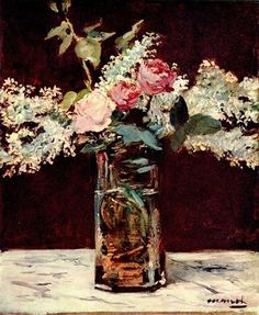Lilac and roses, 1883 by Edouard Manet. Impressionism. still life. Private Collection