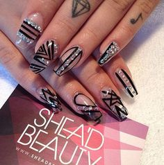 Transparent nails may look weird at first. But when you get this black and diamond designs to go with it, it would look great all of a sudden.