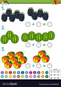 Cartoon Illustration of Educational Mathematical Calculation Puzzle Game for Preschool and Elementary Age Children with Fruits , English Worksheets For Kindergarten, Fruit Vector, Math Addition, Educational Games, Cool Art, Awesome Art, Vector Free, Preschool, Teaching