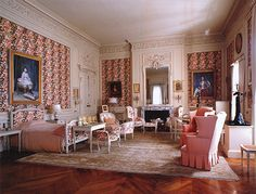 The Breakers 2nd floor eldest daughter's (Gertrude) chamber. The right wall features a Palladian window looking over the sea. Beyond the fireplace wall is the upstairs loggia on the east side of the house. The far set of doors open to a lobby which provides access to the loggia and the gallery that encircles the Great Hall. Matching doors to the left lead to a dressing-bath room and Mrs. Vanderbilt's chamber. JC