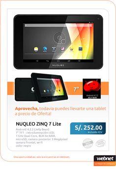 Aprovecha esta super Oferta de la Tablet NUQLEO ZINQ 7! Disfruta al máximo de tu tablet a toda hora y lugar.
