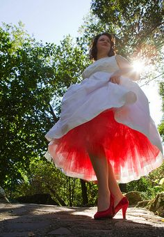 wedding gown - tea length, red tulle & shoes