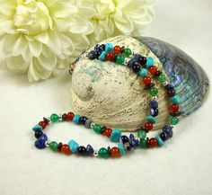 Necklace, Rainbow of Mixed Gemstones with Sterling Silver £27.00