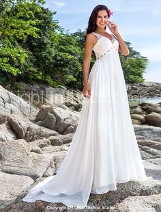 Lanting Bride® A-line Petite / Plus Sizes Wedding Dress - Chic & Modern Chapel Train V-neck Chiffon with Sequin / Beading 2017 - $159.99