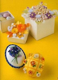 Quilled Eggs Quilled Boxes - by: unknown artist