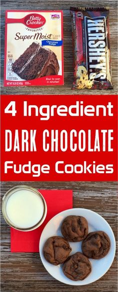These Dark Chocolate Fudge Cake Mix Cookies are the perfect dessert for chocolate lovers! They're easy to make, so delicious, and only four ingredients!