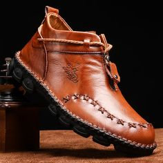 Menico Menico Men Hand Stitching Cow Leather Non Slip Soft Sole Casual Boots is fashionable, come to NewChic to buy mens boots online. Casual Leather Shoes, Casual Boots, Leather Boots, Cow Leather, Buy Shoes, Men's Shoes, Loafer Shoes, Dress Shoes, Black Strappy Shoes