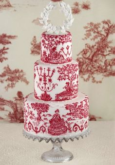 Red and white toile wedding cake