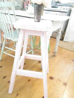 pink stool chippy painted shabby chic stool farmhouse  prairie cottage by…