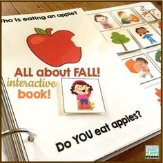 An INTERACTIVE book All About Fall {with basic WH- questions}TEACH how to answer wh- questions then assess & practice with this TRULY interactive book all about Autumn!