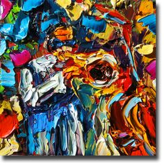 New Orleans JAZZ Painting Palette Knife Oil Painting