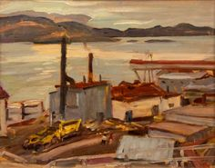 """""""Sawmill,"""" Alexander Young Jackson, oil on panel, 12 x 14 1/2"""", private collection."""