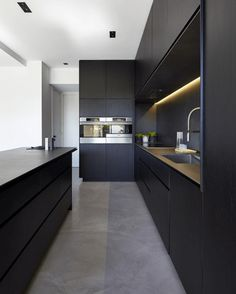 'Minimal Interior Design Inspiration' is a biweekly showcase of some of the most perfectly minimal interior design examples that we've found around the web - Modern Kitchen Cabinets, Cute Kitchen, Modern Kitchen Design, Kitchen Decor, Kitchen Ideas, Dark Cabinets, Modern Interior Design, Interior Design Inspiration, Design Ideas
