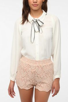 Sister Jane Scalloped Tie-Neck Blouse  #UrbanOutfitters  $79