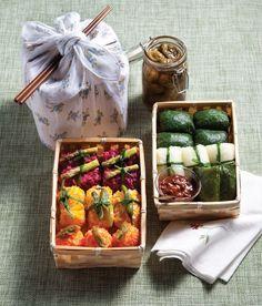 Ssambap (Korean wrapped rice) Bento Lunch 韓国弁当 쌈밥 도시락
