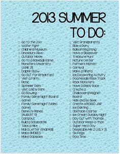 Free Printable 2013 Summer To Do List For Kids #CraftsForKids
