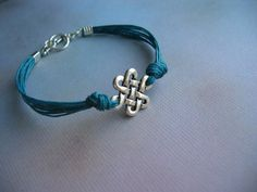 Celtic Knot Bracelet - Antiqued Silver Celtic Link, Teal Waxed Linen Cord, Toggle Bracelet