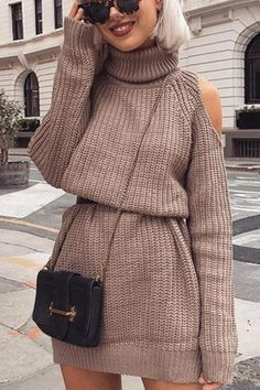 Straight Dress, Knit Sweater Dress, Cotton Sweater, Sweater Outfits, Long Sleeve Mini Dress, Dress Long, Long Sleeve Sweater Dress, Mode Inspiration, Winter Dresses