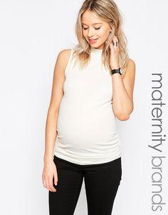Image 1 ofNew Look Maternity Sleeveless Rib Turtle Top