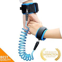 Child Anti Lost Safety Harness | Baby Wrist Link Velcro Wristband | Leash to Keep Kids & Toddlers Close (1.5m - Blue). For price & product info go to: https://all4babies.co.business/child-anti-lost-safety-harness-baby-wrist-link-velcro-wristband-leash-to-keep-kids-toddlers-close-1-5m-blue/