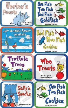 Dr Seuss  Deluxe Food Label Set by AmpersandCreations on Etsy, $28.00