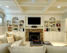 Beautiful built-ins in Georgia. Built-ins around the basement fireplace made this image worth saving to ideabooks. This wall couldve been left completely bare, but Houzz readers loved how the built-in shelves add life. Basement Fireplace, Fireplace Wall, Fireplace Design, Fireplace Console, Cozy Basement, Basement Ceilings, Stone Fireplaces, Basement Bars, Basement House