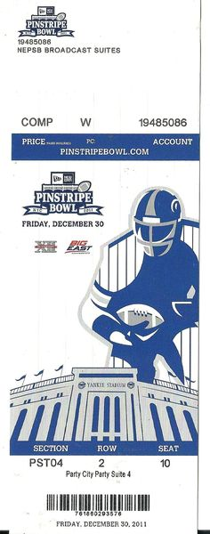 2011 Pinstripe Bowl Game Full Ticket Rutgers Iowa State....if you like this you can find many more college bowl game tickets for sale at.....www.everythingcollectibles.biz
