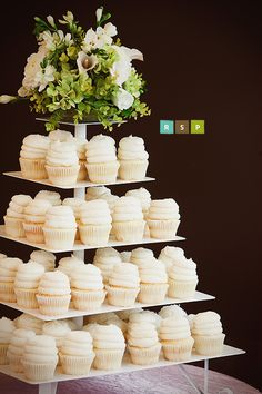 White wedding cupcake tower