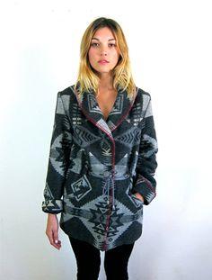 Gorgeous Grey Ethnic Patterned Wool Coat by asecretshop on Etsy, $124.00