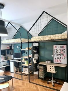 from mommo design - great idea of loft beds for boys :-) Kids Bunk Beds, Loft Beds, Kids Room Design, Kid Spaces, Boy Room, Kids Bedroom, Home Decor, Kidsroom, Furniture Stores