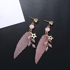 Fashion Feather Earrings Star Rhinestones Acrylic Dangle Earrings Gift for Girls Women online - NewChic Jewelry Sets, Jewelry Necklaces, Women Jewelry, Feather Earrings, Dangle Earrings, Goods And Service Tax, Grenadines, Gifts For Girls, St Kitts And Nevis