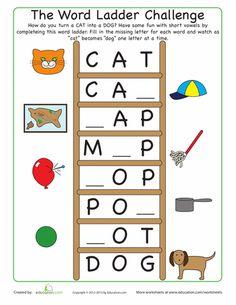 First Grade Phonics Worksheets: Word Ladder Challenge Worksheet Kindergarten Language Arts, Kindergarten Reading, Teaching Reading, Fun Learning, Learning Centers, First Grade Words, First Grade Phonics, First Grade Reading, Teaching Phonics