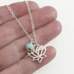 Sterling Silver Lotus Peruvian Opal Charm Pendant Chain Necklace Yoga Jewelry....I WANT THIS SOOOOO MUCH!