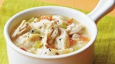Easy Chicken and Dumplings // already condensed but even more so if you were to buy a rotisserie chicken.