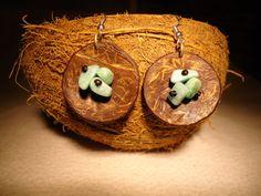 Amazonite Earrings Crystal Earrings Coconut Earrings by GaeaCrafts