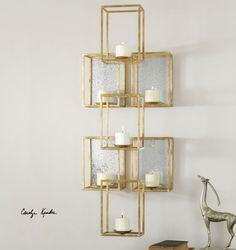 Contemporary Stacked Cubes Candle Wall Sconce | Gold Geometric