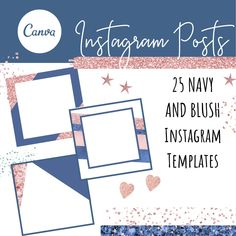 Blank Instagram Templates for Posts - Navy and Blush Theme, Instagram Posts, Instagram Branding Bundle, Social Media Templates