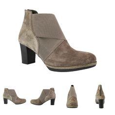 Jetzt neu bei SchuhXL: Herbst- Stiefelette für Damen in Übergrößen, Farbe Grau mit Plateau-Sohle, praktischen Gummizügen und einem Reißverschluss an der Ferse.